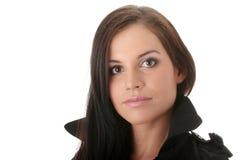 Fashion model in black coat Royalty Free Stock Photos