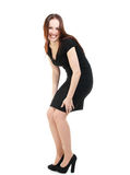 Fashion model in black dress laughing, no makeup Royalty Free Stock Photos