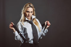 Fashion model with black suspenders Royalty Free Stock Photo