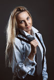 Fashion model with black suspenders Stock Photos