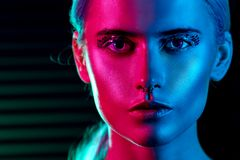 Fashion Model Blonde Woman In Colorful Bright Neon Lights Royalty Free Stock Photos