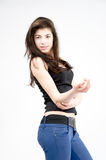 Fashion Model blue jeans Royalty Free Stock Images
