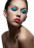 Fashion model with bright make-up Stock Photography