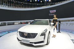 A Fashion Model on Cadillac CT6 PHEV hybrid saloon car Stock Images
