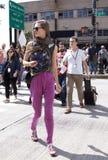Fashion model Caroline Brasch Nielsen street style in New York Stock Image