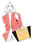 Fashion Model Carrying a Handbag Stock Photos