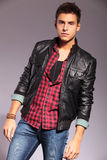 Fashion model in casual clothes and leather jacket Royalty Free Stock Photos