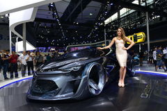 A Fashion Model on Chevrolet FNR concept car Stock Photo