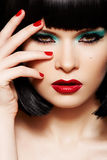 Fashion Model. Christmas Glitter Make-up, Manicure