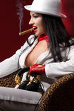 Fashion model with cigar Royalty Free Stock Images