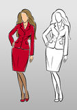 Fashion Model in Classic Business Suit. Vector image in sketchy/hand-drawing style royalty free illustration