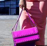 Fashion model with clutch in pink dress poses Royalty Free Stock Photography