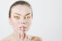Fashion model with colorful make-up Royalty Free Stock Image