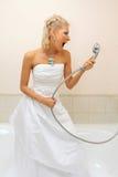 Fashion model cries in the bathroom