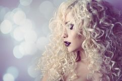 Fashion Model Curly Hair, Young Woman Beauty Portrait, Hairstyle Curls royalty free stock photos