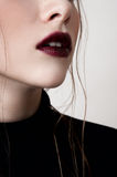 Fashion model with dark red lips Stock Photo