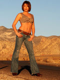 Fashion Model in the Desert Royalty Free Stock Photos