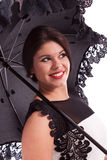 Fashion model in dress with umbrella Stock Photography