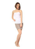 Fashion model dressed in short gray skirt isolated on white Stock Images
