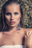 Fashion model with earrings Royalty Free Stock Photos
