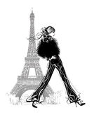 Fashion model by Eiffel tower Stock Images