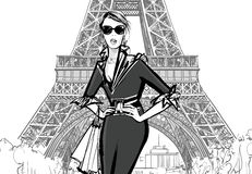 Fashion model by Eiffel tower Royalty Free Stock Photo