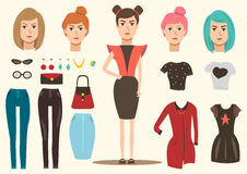 Fashion Model Elements Set. Catwalk fashion group of isolated costumes accessories and hair style images with full length female model vector illustration Royalty Free Stock Photos