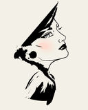 Fashion model face. / classic elegant style / vector illustration Stock Photo