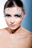 Fashion model with face art makeup Royalty Free Stock Images