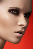 Fashion model face with dark make-up & purity skin stock photos