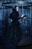 Fashion model in fantasy dress. Posing in steel cage stock photos