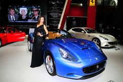 Fashion Model on Ferrari California 30 Royalty Free Stock Image