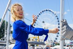 Fashion model and ferris wheel Royalty Free Stock Photo