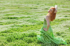 Fashion model in field Royalty Free Stock Images