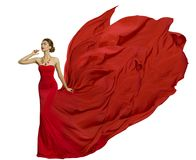 Fashion Model in Fly Dress Fabric, Woman Beauty Fluttering Cloth royalty free stock photography
