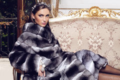 Beautiful woman posing in chinchilla fur coat Royalty Free Stock Images