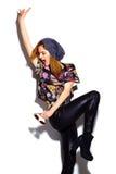 Fashion model girl in casul hipster cloth Stock Photos