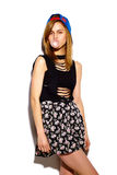 Fashion model girl in casul hipster cloth Royalty Free Stock Image