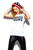 Fashion model girl in casul hipster cloth Stock Photography