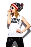 Fashion model girl in casul hipster cloth Royalty Free Stock Photos