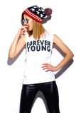 Fashion model girl in casul hipster cloth Stock Image
