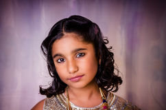 Fashion model girl child closeup portrait Stock Photo