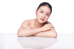 Fashion Model Girl Face. Beautiful Young Asian Woman with Clean Stock Image