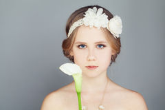 Fashion Model Girl. Fashionable Teenager Girl in Prom Dress Royalty Free Stock Images