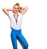 Fashion model girl isolated over white Stock Photos
