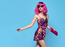 Free Fashion Model Girl, Pink Hair.Stylish Party Outfit Royalty Free Stock Photo - 110399515