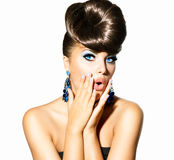 Fashion Model Girl Portrait. With Blue Eyes. Creative Hairstyle royalty free stock photo
