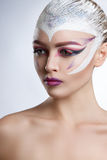 Fashion Model Girl Portrait with Bright Makeup. Creative Hairstyle. Royalty Free Stock Photography