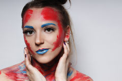 Fashion model girl portrait with colorful make up. Girl portrait with colorful make up royalty free stock photography