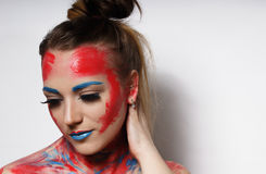 Fashion model girl portrait with colorful make up. Girl portrait with colorful make up stock images